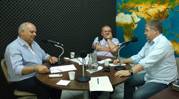 Fioretto, Vieira e Thomas Altmann na gravação do Programa Doutores da Terra